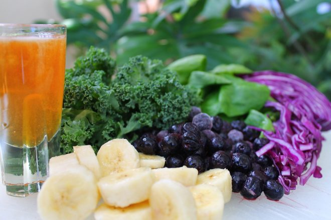 Healthy diet — vegetables, fruits and smoothie